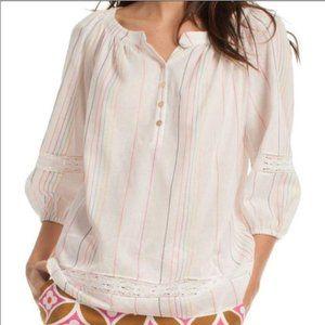 Trina Turk Embroidered Copious Tunic Top White Medium